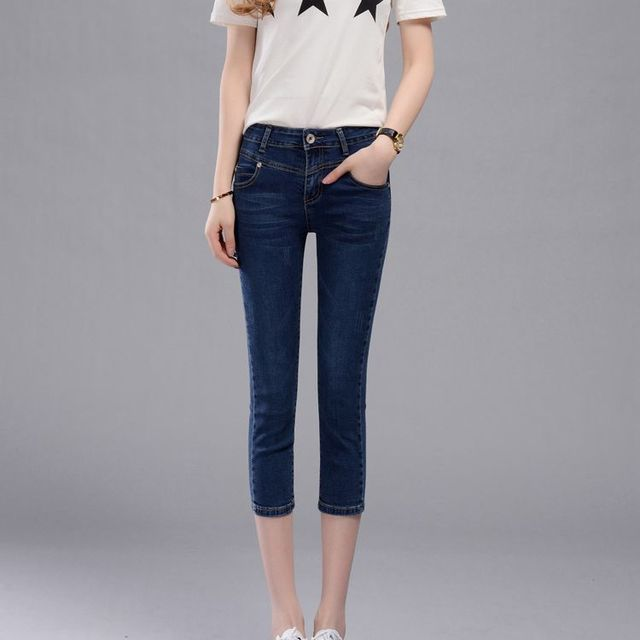Aliexpress.com : Buy 2017 Spring Women Denim Capris Pants High ...