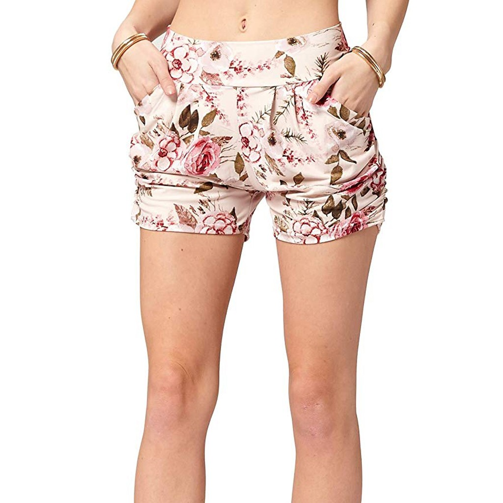 Shorts Pantalon Corto Mujer Verano Szorty Damskie Spodenki Pantaloncini Donna  Flower Printed Pocket Shorts Soft Harem TrouserZ4