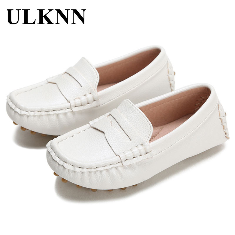 Kids Casual Shoes Genuine Leather 2018 Boys Fashion New Style Flat Soft Childrens Peas Shoes Girls White Baby EU Size 21-32