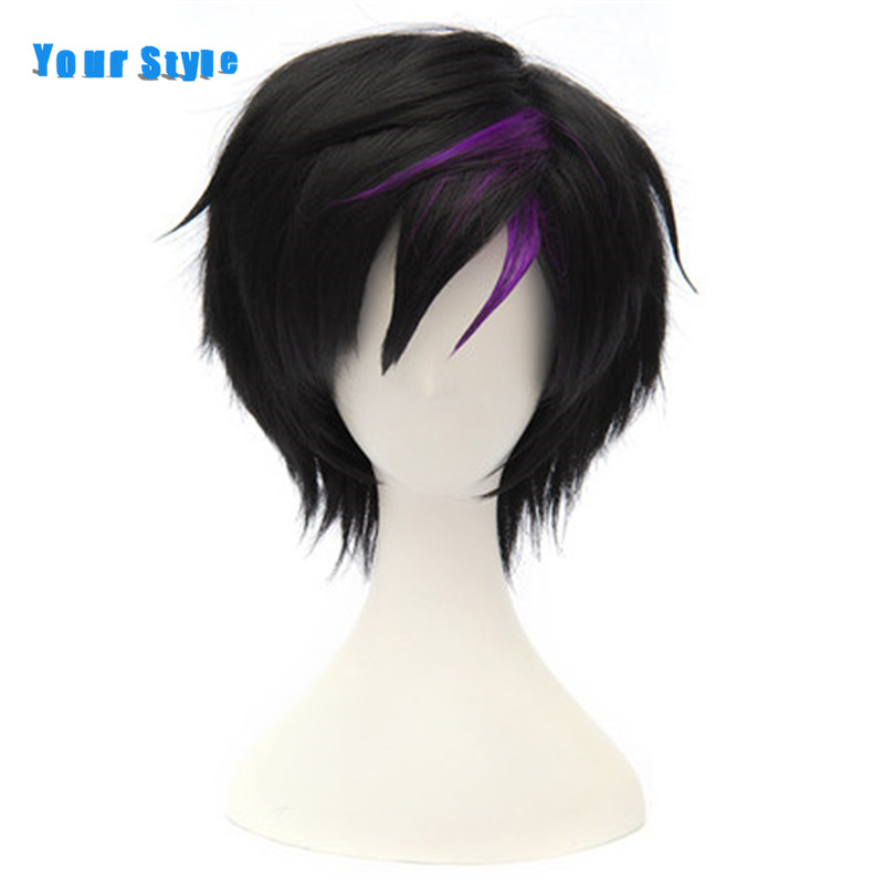 Your Style Short Curly Black Cosplay Mens Wigs Boy Purple Hairstyles Natural Hair Synthetic High Temperature Fiber