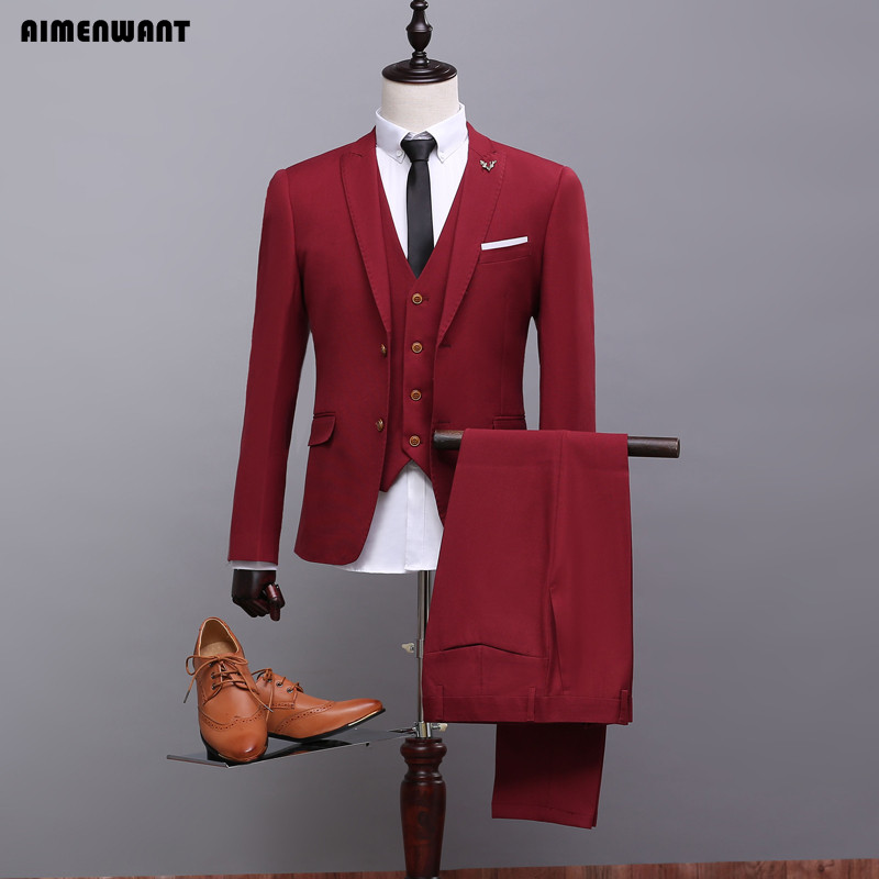 AIMENWANT Mens Wine Red Suit 3 Piece Jacket Vest Pants Customize Grooms Suits Host Blazer High