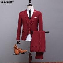 Aimenwant мужские цвет красного вина костюм 3 предмета (куртка + жилет + Брюки для девочек) настроить женихов Костюмы хост блейзер высокое качество ужин костюм подарки