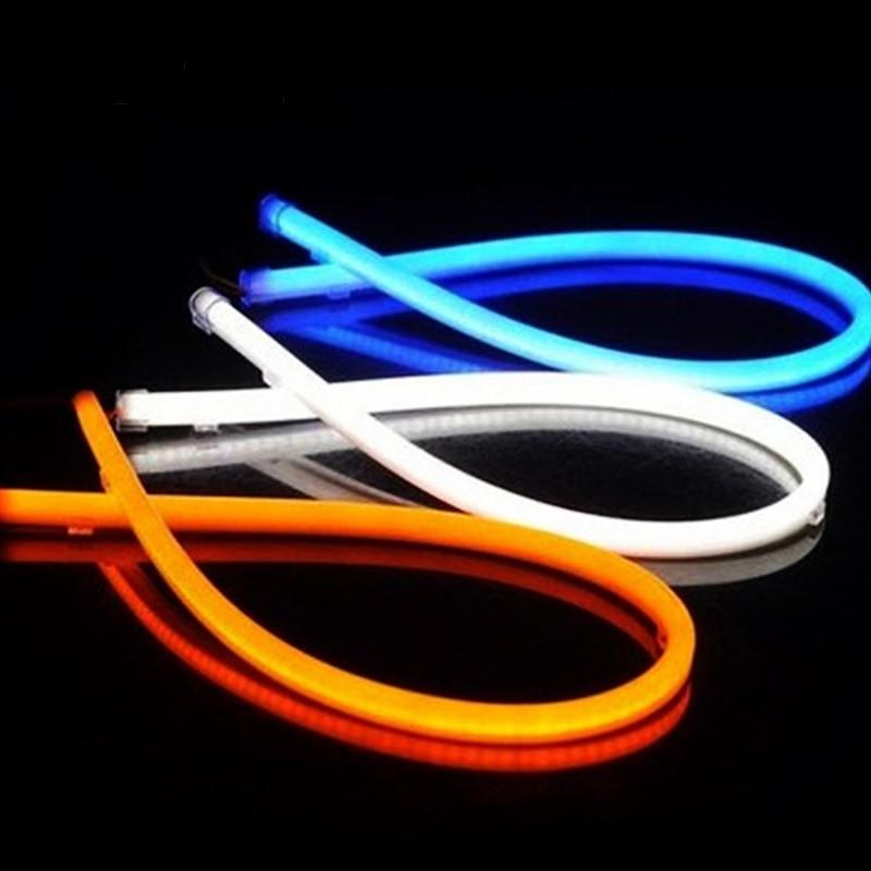 2x 85CM Daytime Running Light Switchback LED DRL Headlight Angel Eyes Decorative Light Strip White/Yellow/Red/Blue sunkia 45cm white red yellow blue white yellow flexible headlight daytime lamp switchback strip angel eye drl decorative light