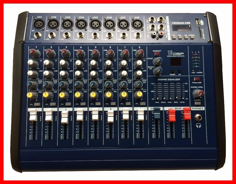 Nfs2ru 500w Rms Pmx802 Professional Powered Audio Dj Mixer 8 Channel Mezcladora De Dj Mikser