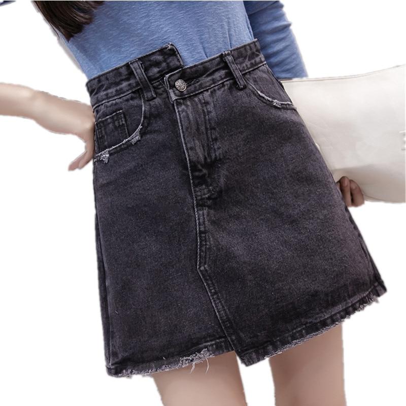 2018 New Novelty Irregular Denim Skirts For Women Short Black Skirt A-Line  High Waist Saia Jeans High Quality Summer Mini Skirt 20ab537a22