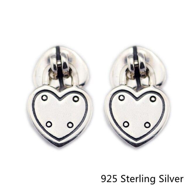 Autentico 925 Sterling Silver Amore Serrature Orecchini Gioielli in Stile Europeo Per Charms Donne di Modo CKK