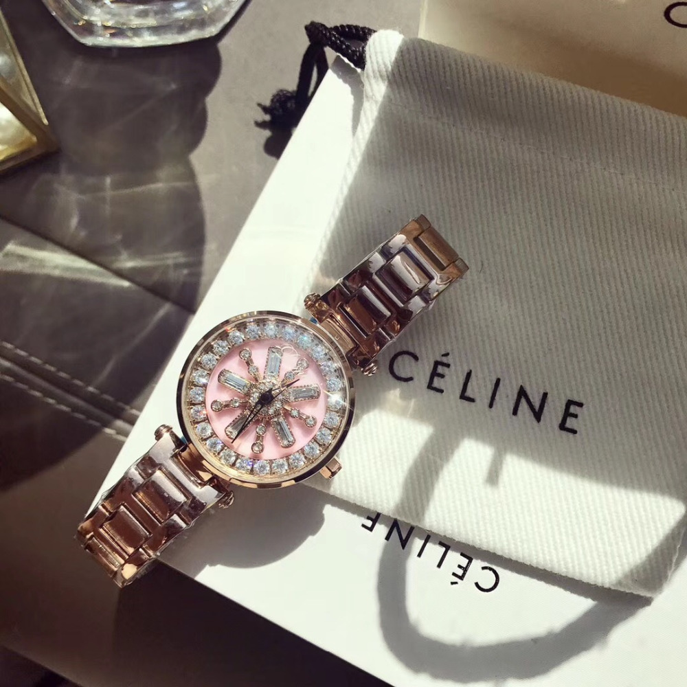 New Designer Crystal Flower Spinning Watches for Women GOOD LUCK Rotating Gift Watch Anti Fading Full Steel Bracelet Wrist watch đồng hồ binger bg54