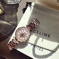 Neue Designer Kristall Blume Spinning Uhren für Frauen GUTE LUCK Rotierenden Geschenk Uhr Anti Verblassen Voller Stahl Armband armbanduhr Damenuhren    -