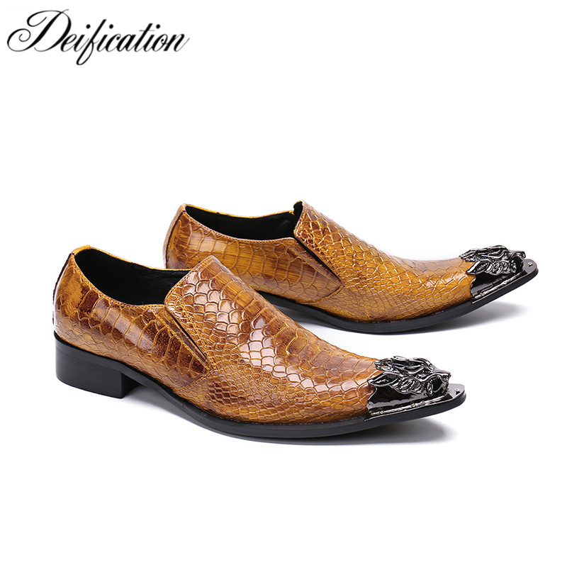 Deification Luxury Metal Pointy Toe Business Formal Shoes Men's Flats Slip-On Brown Leather Shoes Fashion Dress Shoes For Men цены