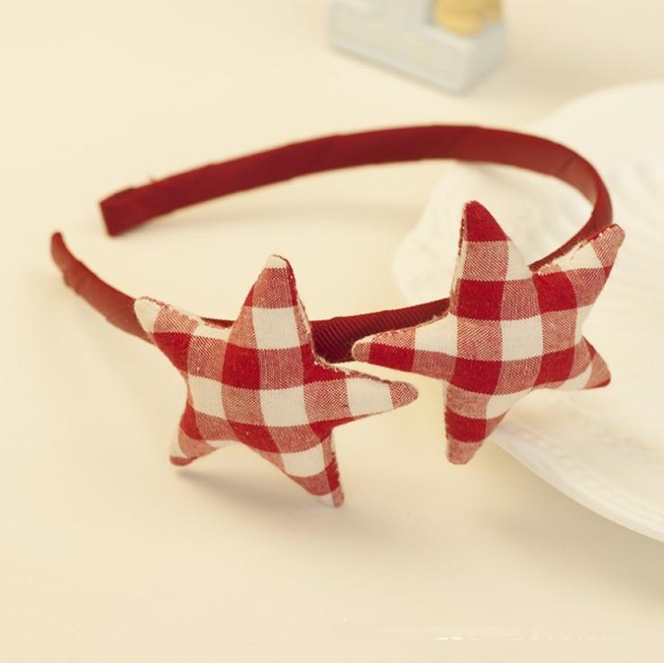12 шт. модные корейские милые повязки для волос в клетку со звездами, жесткие повязки на голову с набивкой в виде звезды, аксессуары для волос для девушек, аксессуары для принцесс - Цвет: Красный