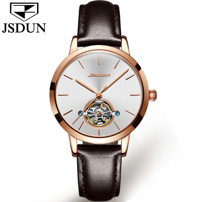 11.11 New JSDUN Leather Watch Women's Automatic Mechanical Movement Ladies Waterproof Sports Watches Girl Tourbillon Wrist watch 2017 new jsdun luxury brand automatic mechanical watch ladies rose gold watches stainless steel ladies tourbillon wrist watch