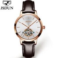 11.11 New JSDUN Leather Watch Women's Automatic Mechanical Movement Ladies Waterproof Sports Watches Girl Tourbillon Wrist watch