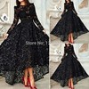 Hot Sale 2016 A Line High Collar Long Sleeves Ankle Length Black Lace Women Long Evening