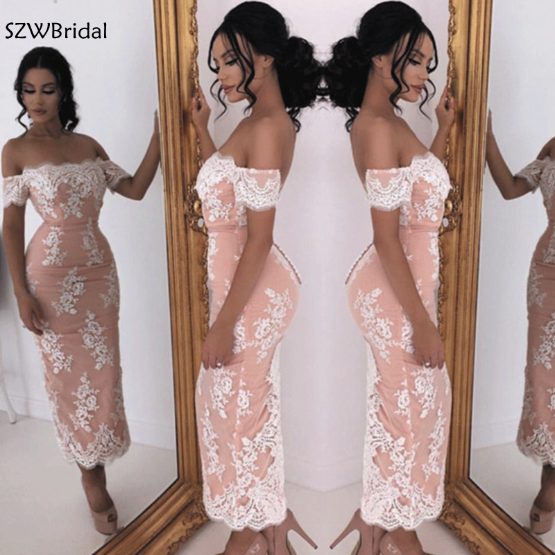 New Arrival Off the shoulder Short   evening     dress   Lace   evening   gowns 2019 robe soiree dubai Arabic   evening     dress   Plus size