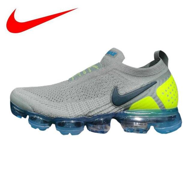 8384b4d382 Original Nike Air VaporMax Moc 2 Men's Running Shoes, Grey & Green,  Shock-Absorbing Breathable Lightweight AH7006 300
