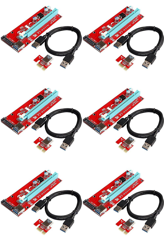 6PCS VER 007S Raiser Pci-e Extender Pci Express Riser Card 1X To 16X Usb 3.0 Cable SATA Power Supply Of Motherboard адаптер raiser card ver 9