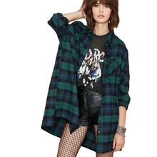 Plus Size 3XL 4XL 5XL Summer Tops Plaid Shirts Blouses Women Tartan Shirt Long Sleeve Baggy Check Blouse Oversized Female Tunics