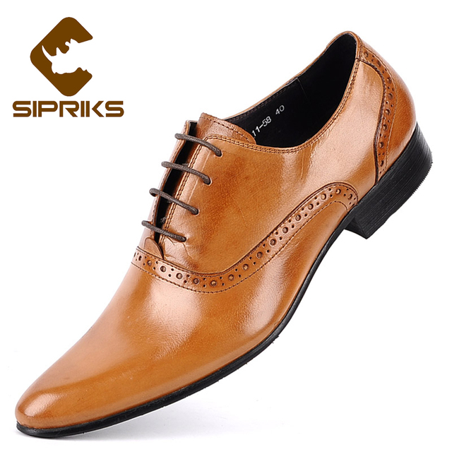 bfd842f50b77 Sipriks Pointe Toe Light Brown Oxford Shoes For Men Elegant Mens Formal  Leather Shoes Burgundy Dress Shoes Male Wedding Shoes