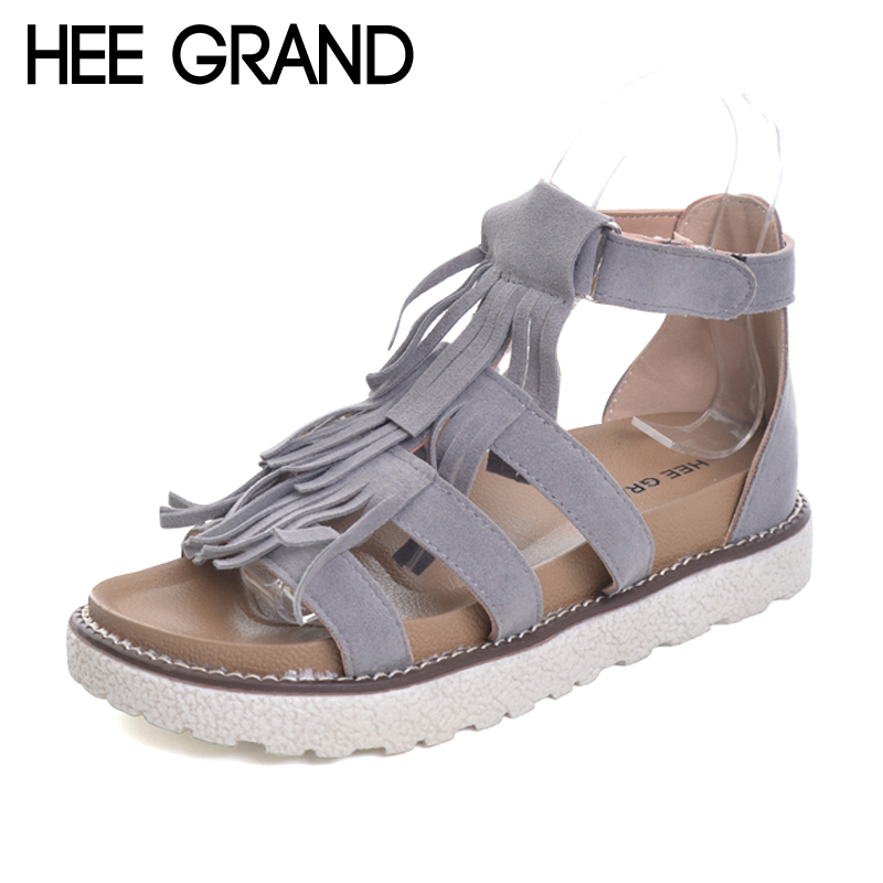 HEE GRAND Tassel Gladiator Sandals 2017 New Vintage Platform Shoes Woman Slip On Flats Summer Leisure Creepers 3 Colors XWZ4245 hee grand summer gladiator sandals 2017 new beach platform shoes woman slip on flats creepers casual women shoes xwz3346