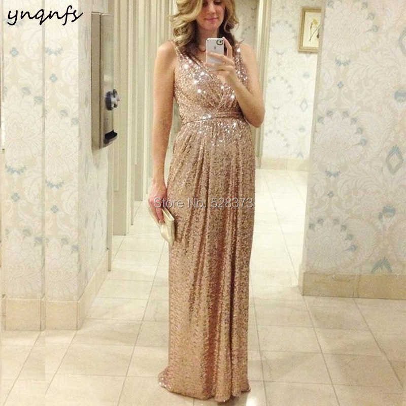 12eb7e8e5452 YNQNFS ED191 Elegant V Neck Empire Mother Pregnant Dresses Sparkly Sequins  Champagne Maternity Evening Party Gown