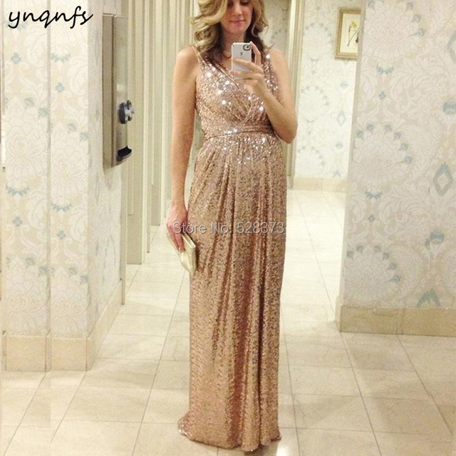 c14ba82aaae96 YNQNFS ED191 Elegant V Neck Empire Mother Pregnant Dresses Sparkly Sequins  Champagne Maternity Evening Party Gown 2019