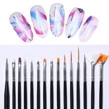 15Pcs/Set Acrylic UV Gel Brush Nail Kit Pink White Mixed Size Professional Dotting Painting Pen Art Tools