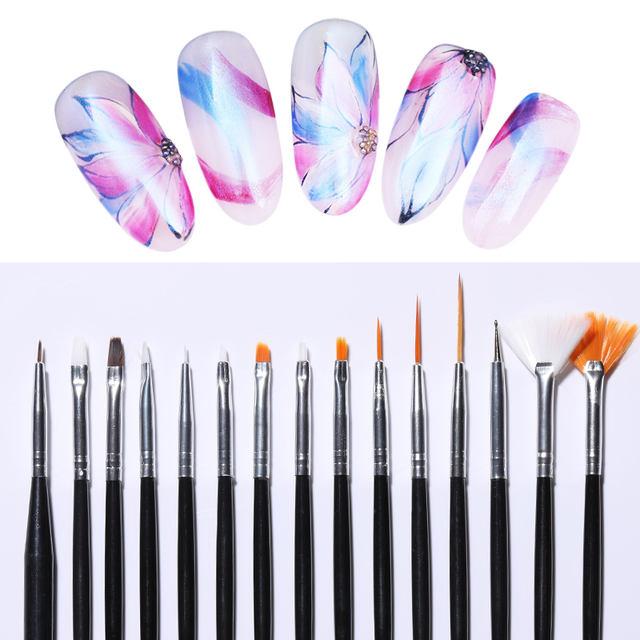 15Pcs/set Acrylic UV Gel Nail Brush Kit Coating Builder Pink Black White Dotting Painting Design Pen DIY Nail Art Tools