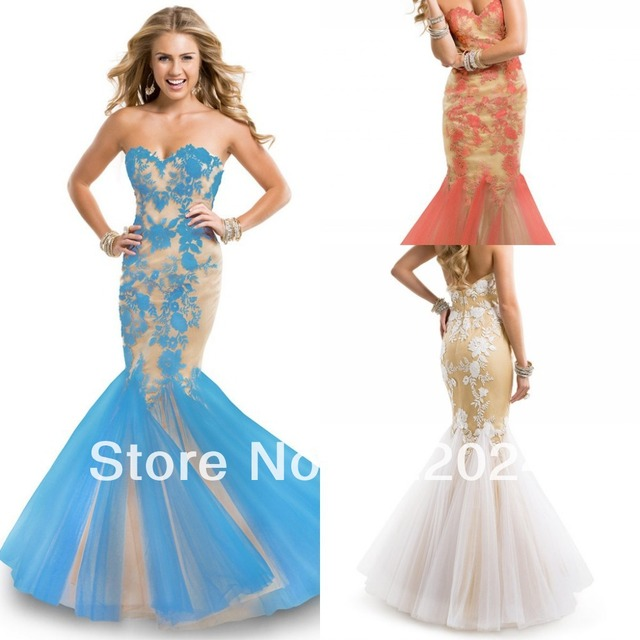 2014 Party wear sheer netting mermaid evening dresses illusion ...