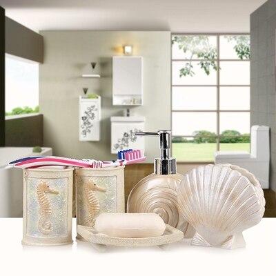 2016New 5pcs set Resin Creative Seaside Bathroom Sets Bath Accessories Wash  Gargle Suit Bathroom products. Seaside Bathroom Accessories Promotion Shop for Promotional