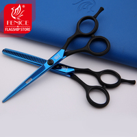 Professional hair scissors set blue black handle barber shears comb pouch salon scissors kit 5.5inch 6.0inch hairdressing tools