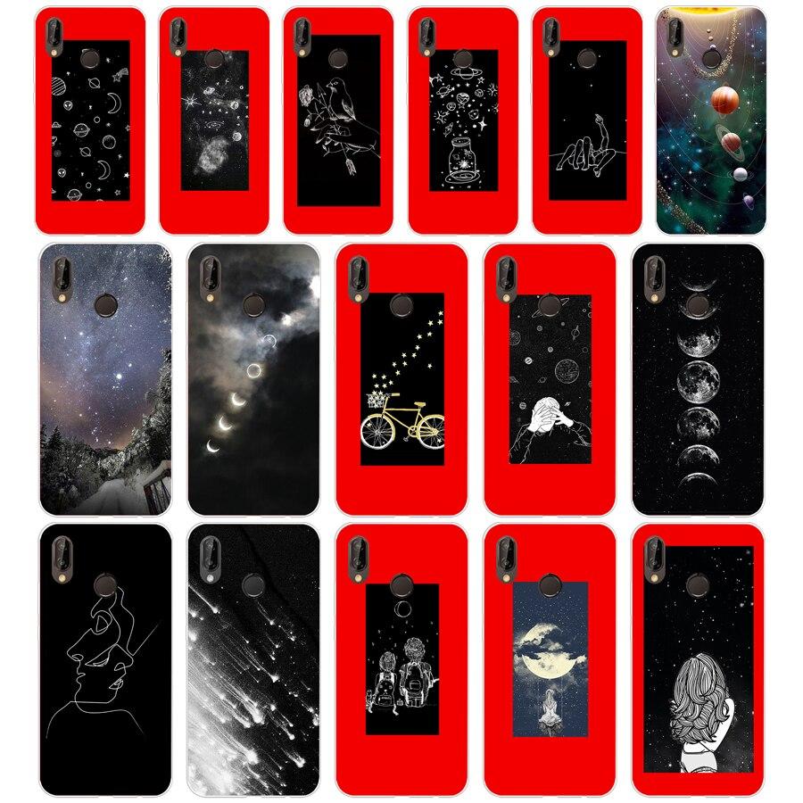 10sd Sky Space Planeet Zon Maan Sterren Zachte Siliconen Tpu Cover Case Voor Honor 10 Huawei P Mate 10 20 Lite Y5 Y6 Prime 2018