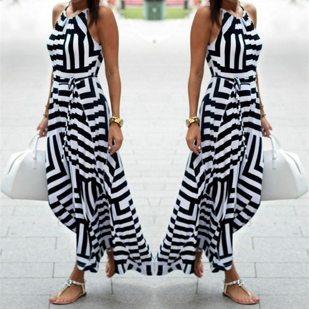 New Fashion Stripe Print Sexy Long Dress robe longue Women Sexy Summer Bohemian Maxi Long Evening Party Beach Dress Sundress #5