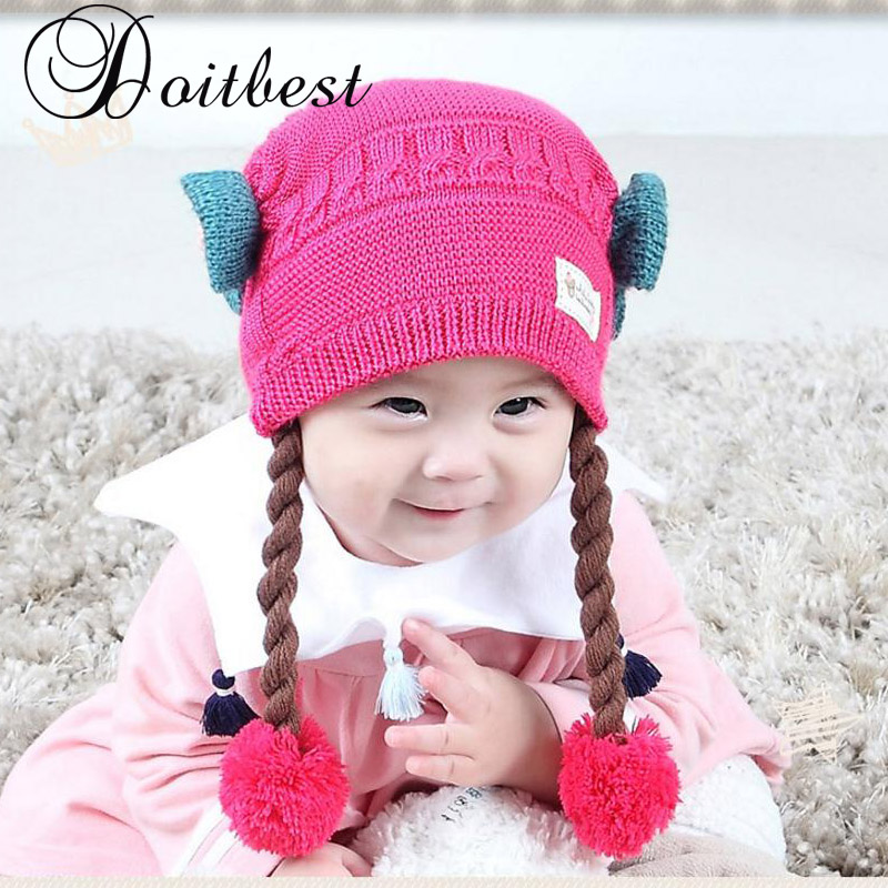 9ae44ecfce0 Two wigs wool Winter hats Baby Child knitted hat kids girls Earflap Caps  Age for 6