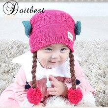 Два парика, шерстяные зимние шапки, детские вязаные шапки, детские шапки с ушками для девочек от 6 месяцев до 2 лет