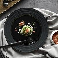 Black Dishware Bar Serving Dishes Dinnwerware China Dishes Food Plate