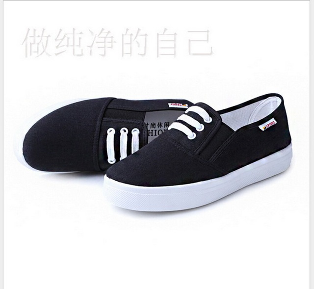 2017 spring  new women's canvas shoes white casual shoes student flat shoes