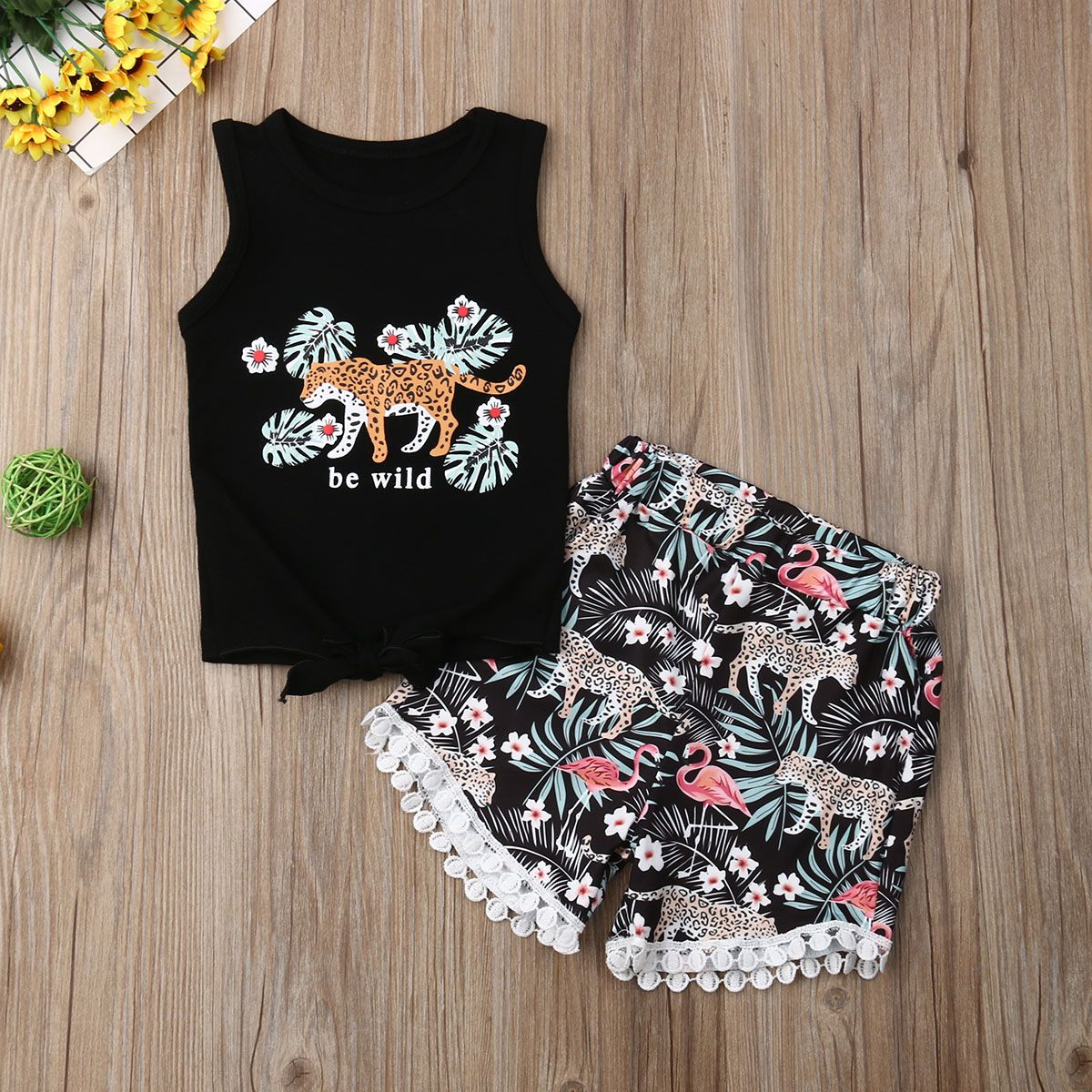 Pudcoco Summer Newest Toddler Baby Girl Clothes Sleeveless Leopard Flower Print Tops Tassels Short Pants 2Pcs Outfits Clothes