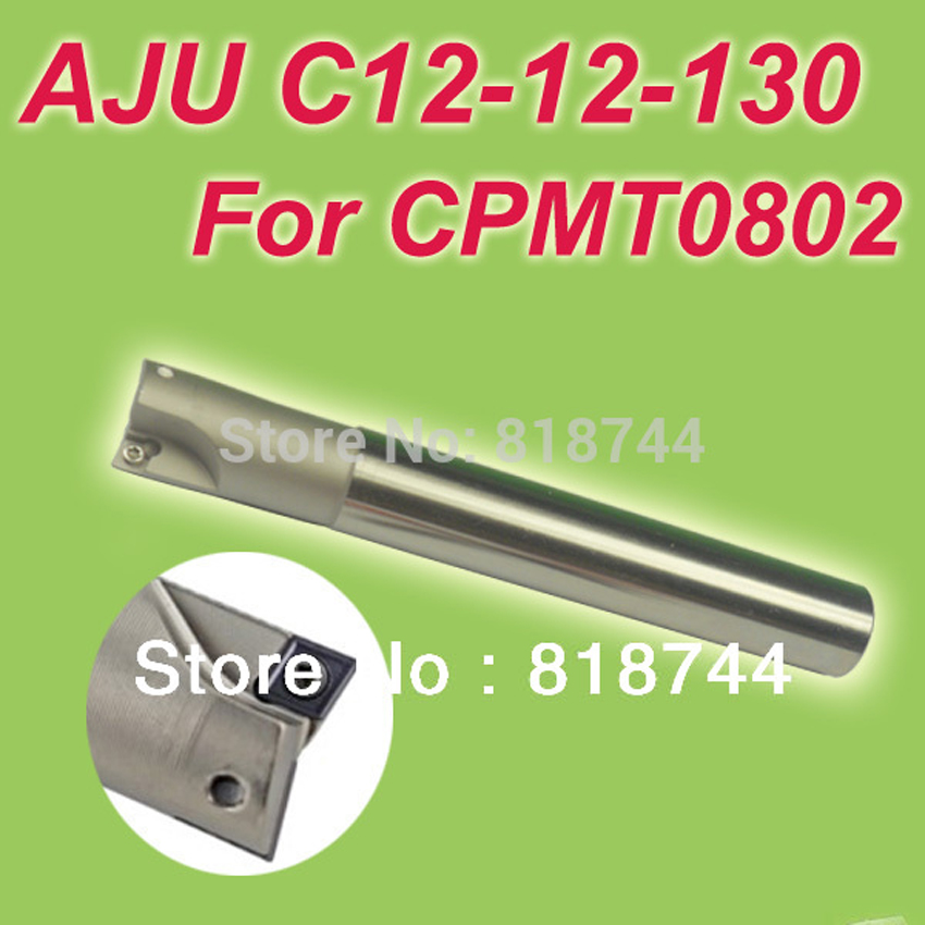 Free Shiping TJU/AJU C12-12-130 Dia 12mm Insertable Bore Drilling End Mill Cutting Tools Arbor  for CPMT080204 new free shiping 1pcst2139 c10 4r 100 10pcs p3200 d08 discount insertable ball precision end mill for milling machine on sale
