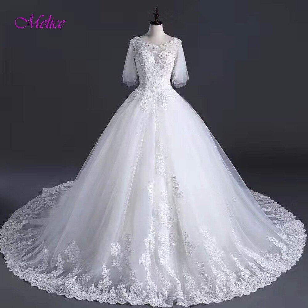 Модное бальное платье с овальным вырезом и аппликацией из бисера, свадебное платье 2019, элегантное платье принцессы с пышными рукавами, свад