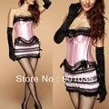 O envio gratuito de 069 Rosa Sexy Corset Set Com Matching Saia & Thong Basco Espartilhos Desossada Tamanho S-6XL