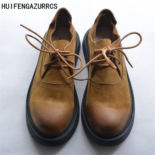 HUIFENGAZURRCS-European style retro round tie Martin-boots, head layer cowhide flat bottom shoes, old style women's tide boots huifengazurrcs head layer cowhide pure
