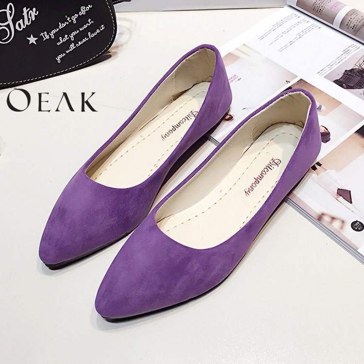 Oeak Ladies Slip On Flat Sandals Casual Shoes Solid Fashion Loafer Female frosted Face Pointed Plain Flat Shoes Single Shoes