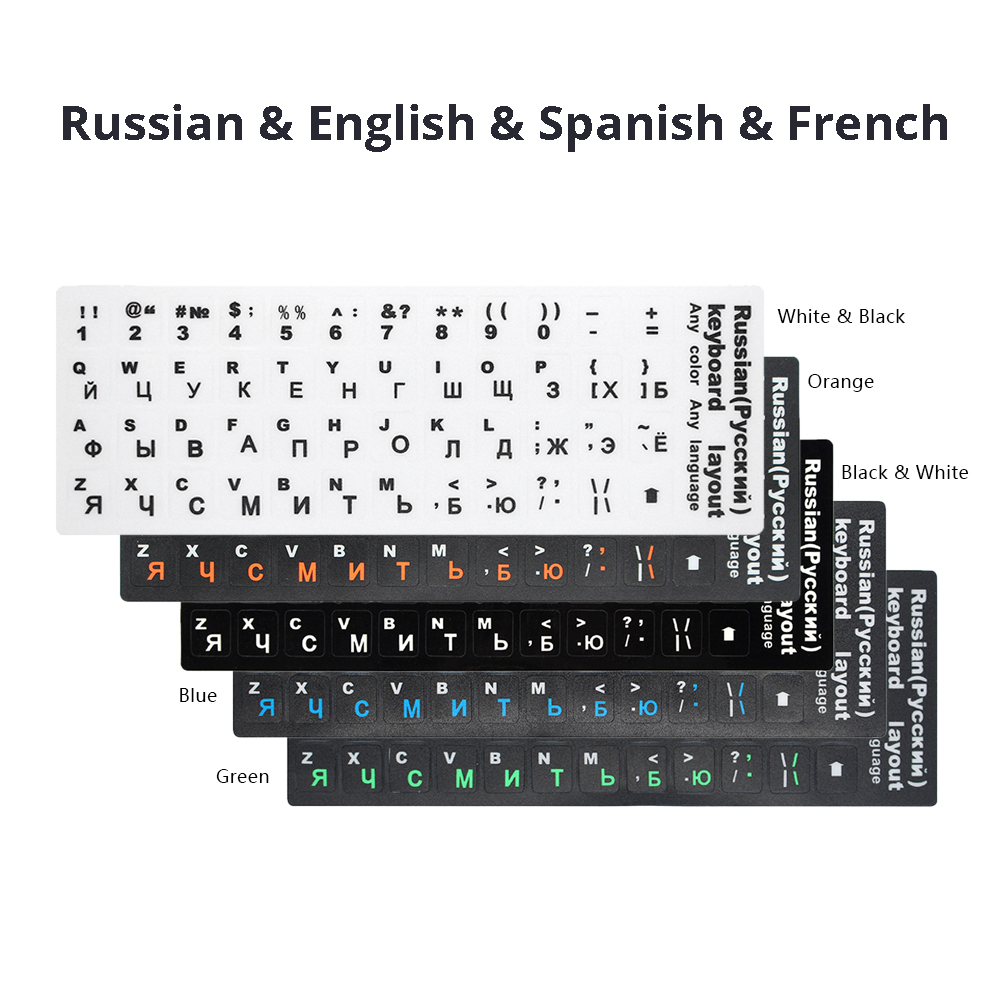 ITALIAN-RUSSIAN NON-TRANSPARENT KEYBOARD STICKERS WHITE BACKGROUND