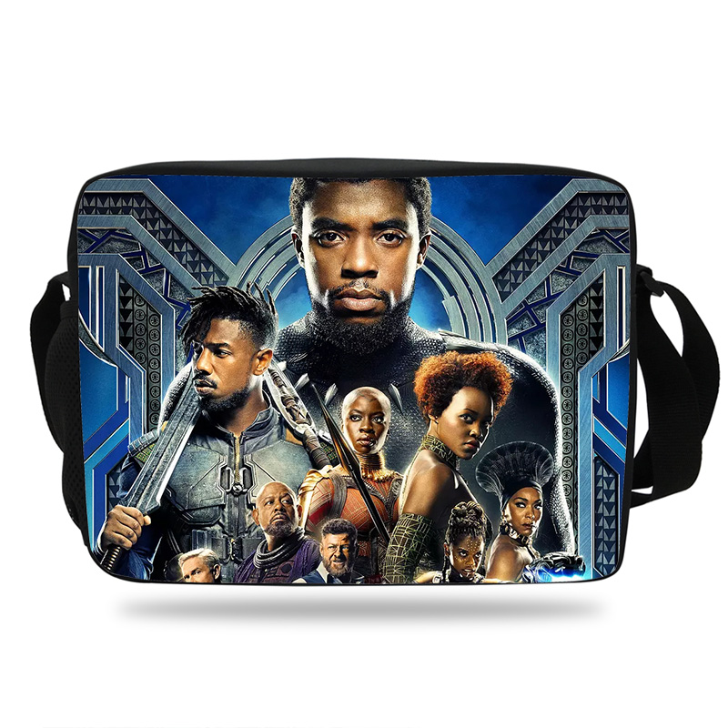 2018 Teenage Children School bags Black Panther Marvel Prints Messenger Crossbody Superhero School Bag High School Boys and Men