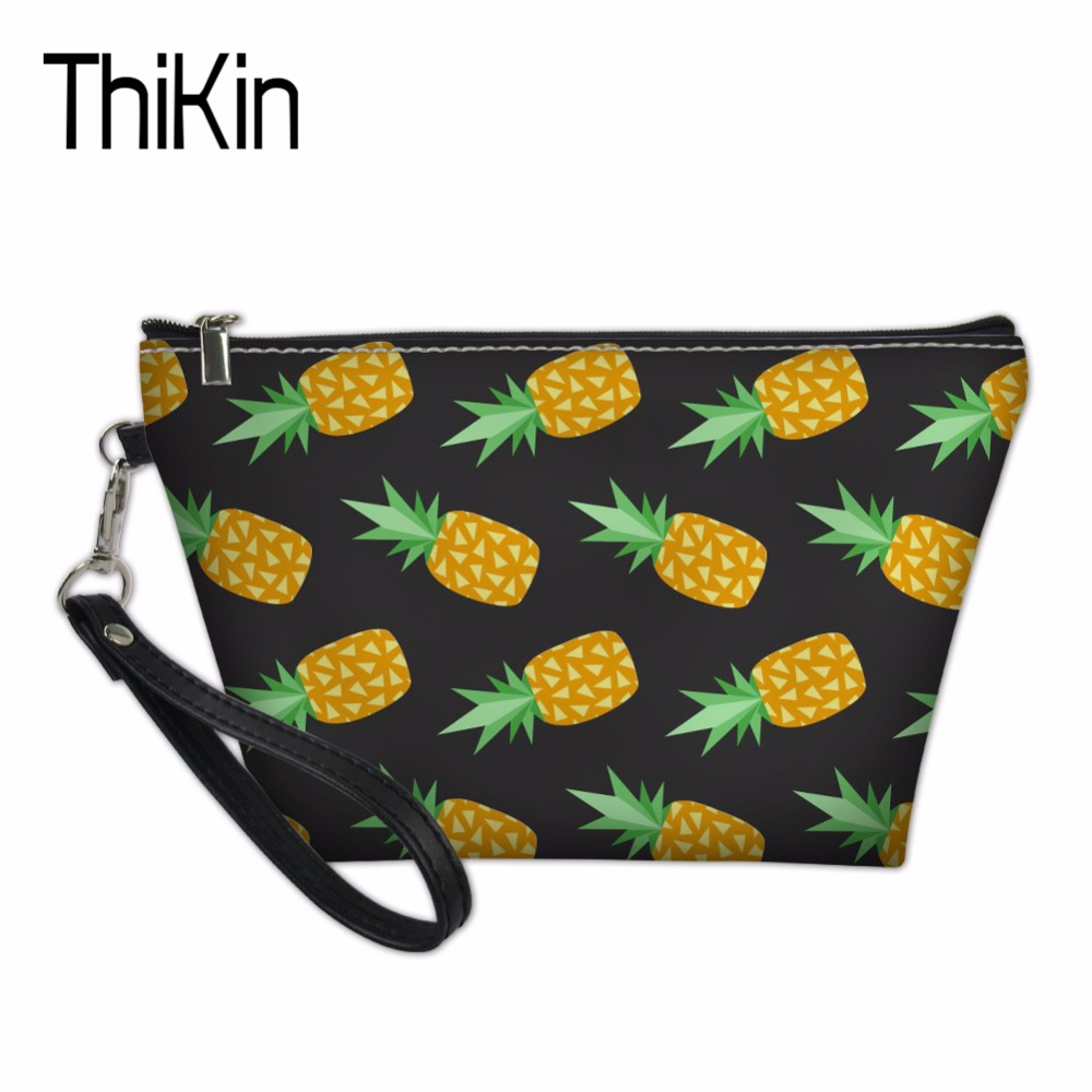 THIKIN Makeup Organizers Bags for Women Ladies Beach Toiletry Bag Pineapple Pattern Cosmetics Make Up Pouchs Functional 55 Bag