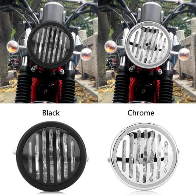 6 3 Inch Black Silver Vintage Motorcycle Headlight Headlamp Grill