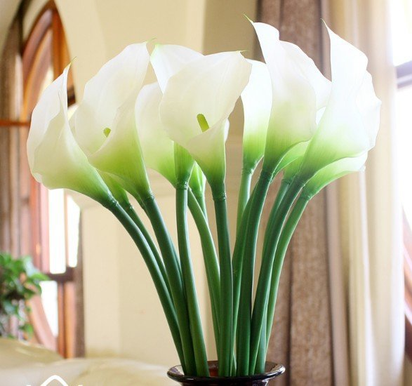 (6pcs/lot)Real Touch Artificial PU Leather Calla Lilies Flowers White Color Home  Decor Wedding Bouquets In Artificial U0026 Dried Flowers From Home U0026 Garden On  ...
