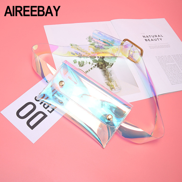 AIREEBAY Transparent Belt Bag Female Hologram Fanny Pack Women Clear Waist Bag Laser Funny Pack Holographic Pouch Belt Bag