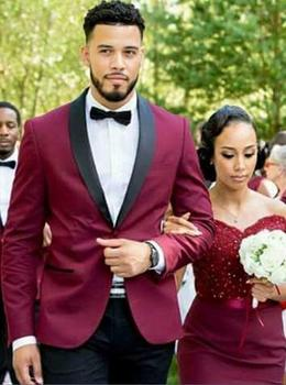 New Arrival Rose Red Mens Dinner Party Prom Suits Groom Tuxedos Groomsmen Wedding Blazer Suits (Jacket+Pants+BowTie)