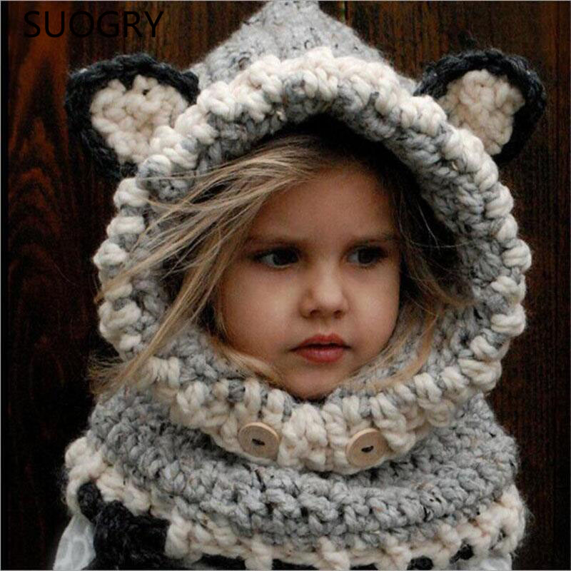 2016 Korean VersiOn Of The Fall And Winter Warm Hat Neck Scarves Wool Knit Cap Cute Baby Girl Child Hood Hooded Scarf Beanie Hat